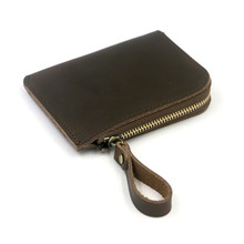 ALAVCHNV art simple folding leather wallet female zipper small change wallet male short section thin nn0015