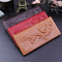 China dragon New 3D 2016 men Long Wallets Genuine Leather Embossed vintage Design famous brand Female women Wallet Clutch Purse(China)