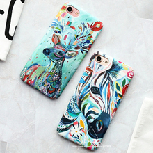 Lovely Cartoon Animal Case For iphone 7 Case Colorful Zebra Milu Deer Painting Back Cover Hard Phone Cases For iphone7 6 6S Plus