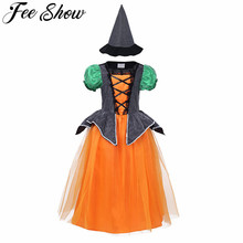 cute kids toddler girls pumpkin halloween costume cosplay party dress witch hat scary clown ghost witch zombie 411 years
