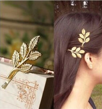 Fashion Lovely Leaves Golden Metal Punk Hairpin Hair pins Hair Clips  4JWD28