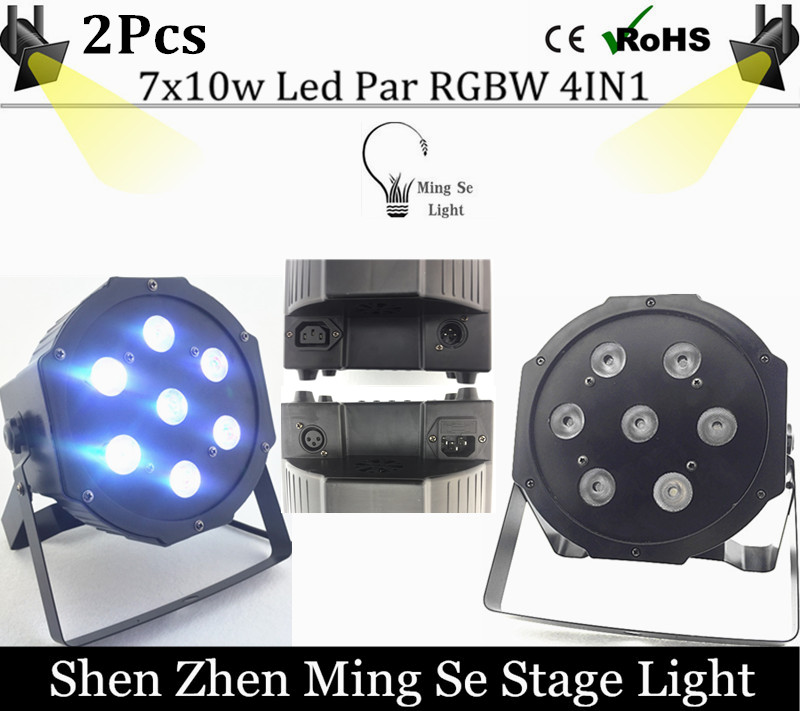 2pcs  10w lamp beads 7x10W led Par lights RGBW 4in1 flat par led dmx512 disco lights professional stage dj equipment<br>