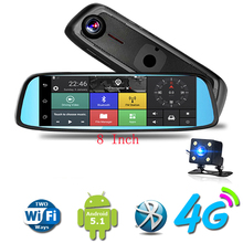 8 inch Car DVR Camera Mirror 4G Touch IPS GPS Bluetooth WIFI 16GB Android 5.1 Dual Lens FHD 1080p Video Recorder Dash Cam