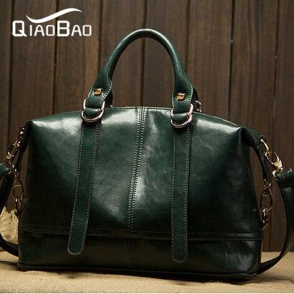 QIAOBAO Wax oil cow leather bag new women handbag genuine leather bag bright fashion women messenger bag leather bolsas<br>