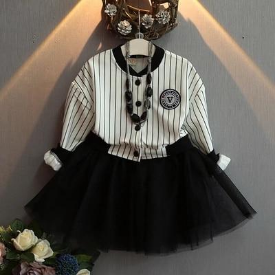2017 spring new baby girls mesh splice tutu dress stripe style kids girls clothes black dress suit 2-7T robe fille enfant<br><br>Aliexpress