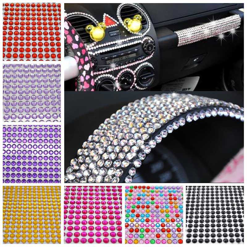504/646/900/1040pcs 6/5/4/3mm Crystal Diamond Acrylic Rhinestone Self Adhesive For Car Mobile PC DIY Nail Decor Decal Styling 7z