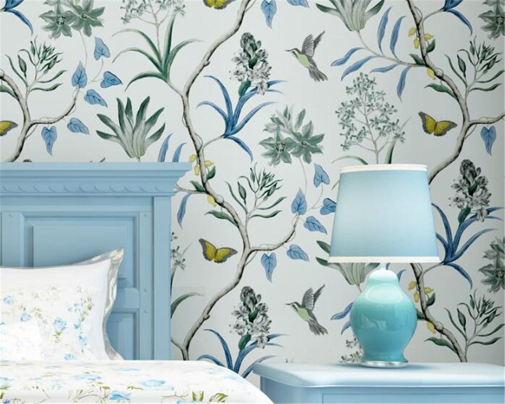 Beibehang American Village Retro Flower Bird Wallpaper Living Room Bedroom TV  Background Wallpaper Roll wallpaper for walls 3 d<br>