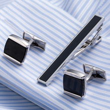 Drop Shipping Brass Necktie Set Tie Bar Cufflinks Tie Clip High Quality Onyx Cuff Links Tie Pin Men Jewelry gift 23