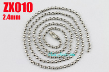 "7""-38"" length 200pcs  stainless steel ball chain 2.4mm beads necklace with waist buckle fashion Jewelry parts  ZX010"