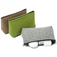 Fashion Brief Solid Carrying Case Digital Storage Bag Portable Felt Fiber Travel Pouch Cable Power Bank Hard Disk Cosmetic Bag