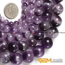 Round Dream Lace Color Amethysts Beads Natural Stone Beads DIY Loose Beads For Jewelry Making Beads Strand 15 Inches Wholesale(China)