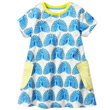Baby Girls Summer Dress with Animal Appliques Brand Kids Dresses for Girls Clothes Striped Crew Neck 100% Cotton Princess Dress