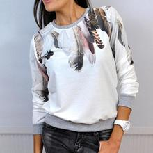 Yomay Spring Autumn Woman Feather Print Casual t shirts O-neck Top