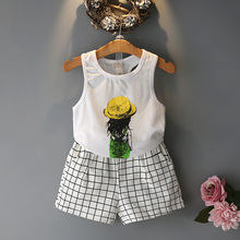 2pc Casual Kids Clothing Baby Girls Clothes Sets Summer cat Girl Tops Shirts + Shorts Suits Children's Clothin 6(China)