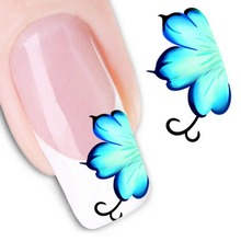 1pc Beauty Blue Colors Leaf Decorations DIY Tips Nail Art Water Transfer Stickers Decals Nail Art Accessory(China)