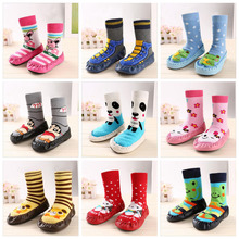 Kid Shoes Cute Winter Baby Boy Girl Children Sock Anti Slip Newborn Animal Cartoon Slippers Boots Soft Leather Sole Indoor Socks(China)