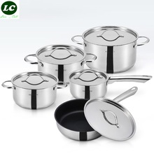 FREE SHIPPING HIGH QUALITY 10pcs casseroles pots set pans FDA COOKING POT STEAK FRYPAN stainless steel cookware set(China)