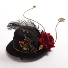 1pc Lolita Girls Floral Cross Feather Gear Hair Clip Goth Vintage Steam Punk Mini Top Hat Fascinator Headwear