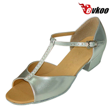 Ballroom Dancing Shoes China Low Heel Girls Latin Dance Shoes Pu With Diamond Material Hot Sale Evkoo-354