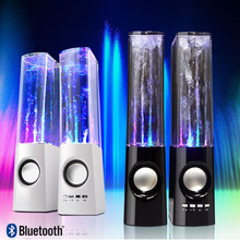 Creative Bluetooth Water Dancing Stereo Speaker,One pair Music Fountain Speaker TF/USB Player LED Lights Show Water HIFI Speaker