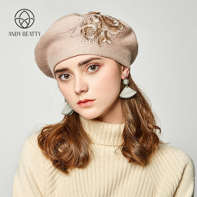 ANDY BEATTY New Lady Winter Hat wool Knitted Berets Cap with flower solid colors fashion For Women Beret Lady(China)