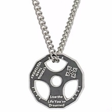 Stainless Steel Fitness Gym Weight Plate Motto Pendant Necklace Weightlifting Dumbbell Charm Necklace Men Women Trainer Gift