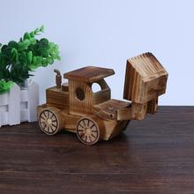 Kids Wooden Toy Simulation Bulldozer Model Wooden Car Model Crafts Educational Toys Forkfuls Wooden Model 3d Puzzle Miniature(China)