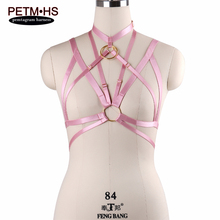 Buy Women Sexy Goth Bondage Lingerie Body Harness Belt Pink Elastic Strappy Tops Cage Bra Fetish Exotic Apparel Nightclub Prom Dress