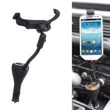 Universal 2-USB Port Car Vehicle Mount Mobile Phone Holder Stand Bracket Cigar Lighter Cellphone Holders with Clip for iPhone(China)