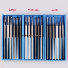 6pcs/box Dental lab instruments Tungsten steel carbide grinding head rotary burr head grinding teeth dentistry carving