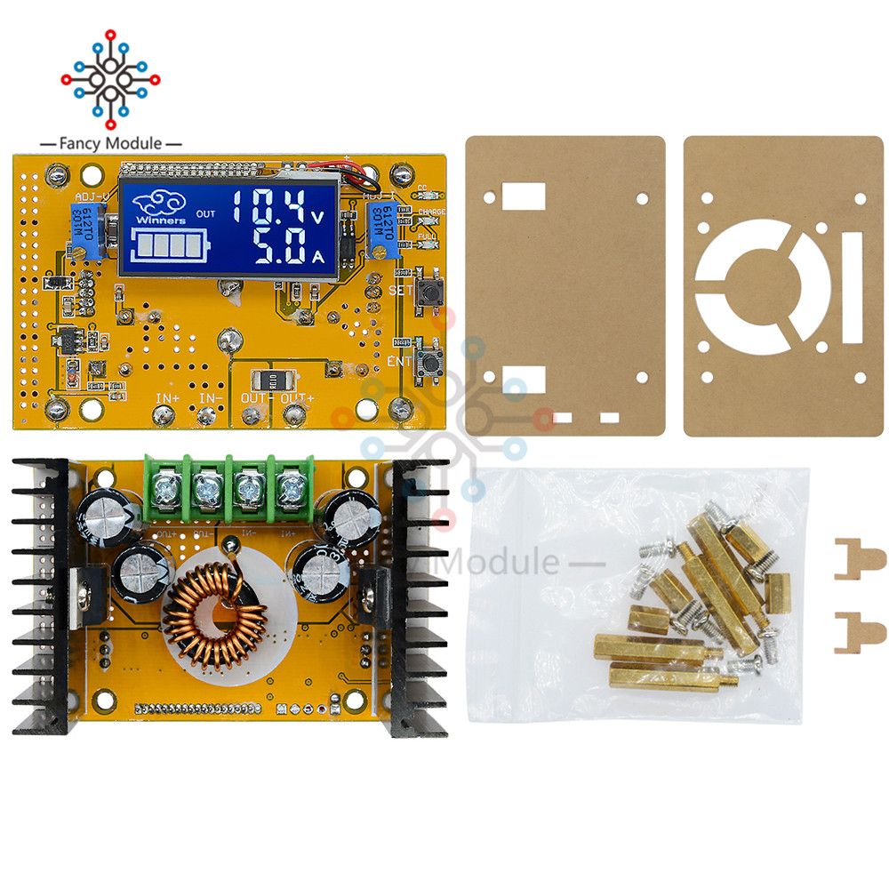 5A DC-DC Adjustable Step-down CC CV LCD Display Power Supply Module+Case wt