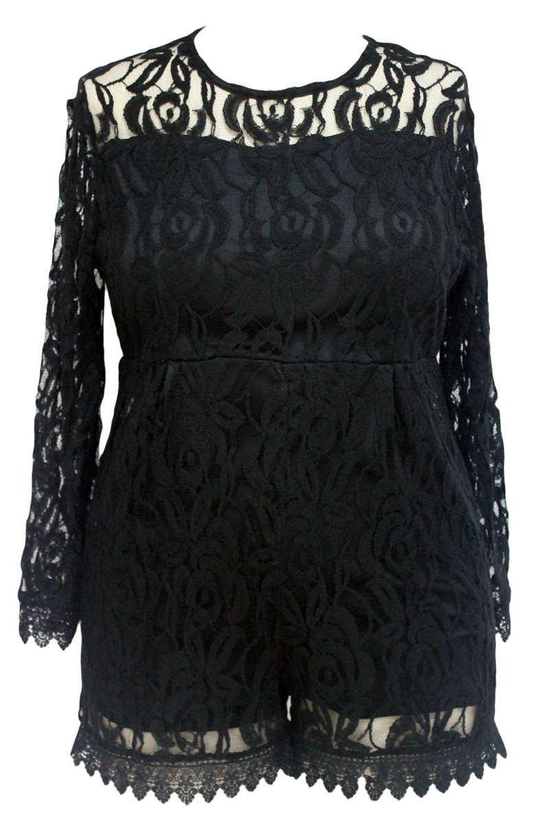 Black-Plus-Size-Long-Sleeve-Lace-Romper-LC60599-2-34639