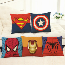 Super Heros Cushion Cover Pillow case Superman,SpiderMan,iron,American cp flash home decoration club office chair seat for gift(China)