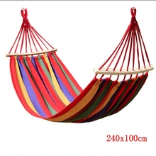 240x100CM Canvas Camping Hammock Wooden stick Prevent Rollover Hammocks Bar Garden Camping Swing Hanging For Fat Strong Person(China)
