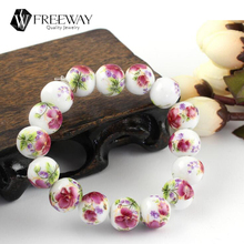 Individuality Chinese Style Vintage Ceramics Peony/Plum/Sunflower/Blue Rose Flower Beaded Bracelet Charm Hand Catenary Jewelry