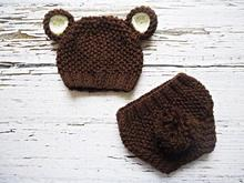 free shipping,Cute Baby Hat, Baby Hat, Knit Beanie Hat with Ears ,Brown Teddy Bear Hat whit diaper cover, MADE TO ORDER NB-3M