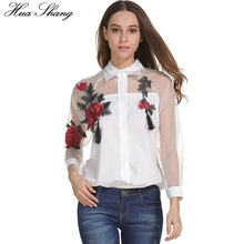 Women Summer Long Sleeve White Blouse Fashion Organza Embroidery Mesh Transparent Sexy Lady Office Shirt Clothes Plus Size Tops