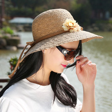 Summer Handmade flower straw hat women's Garland sunbonnet bucket straw hat roll hem on beach cap sun hat for women panama