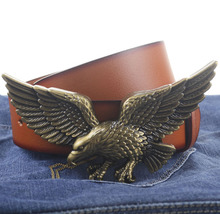 Fly Eagle style buckle PU leather belt silver buckle man belts new style fashion great leather belts 658(China)