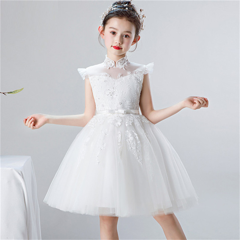 Baby Toddler Pure White Color Elegant Appliques Flowers Evening Birthday Party Princess Prom Dress Little Kids Girls Tutu Dress