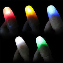 2PCS Funny Novelty Gag LED Light Flashing Fingers Magic Trick Props Kids Amazing Fantastic Glow Toys Children Luminous Gifts(China)