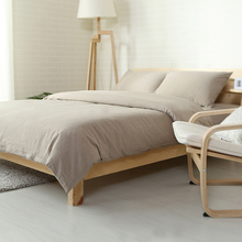 simple style light tan solid 4pcs linens bedding sets twin/single/queen/full/double/king size fitted sheet set
