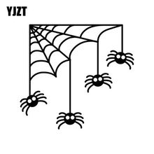 YJZT 11*10.3CM Cartoon Lovely SPIDER WEB Decal Car Window Sticker Car-styling Black/Silver Vinyl S8-1310(China)