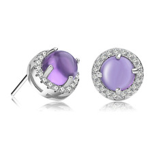 Earrings Christmas Gift 100% Sterling Silver Jewelry Romantic Nature Purple Ross Quartz Stud Earrings Top Quality!!
