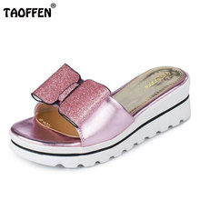TAOFFEN Size 32-42 Sexy Lady Wedges Sandals Bow S Open Toe Shine Slipper Summer Shoes Women Vacation Party Club Footwear(China)