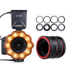 Andoer SL-102C GN15 Macro LED Ring Flash Fill-in Light + Macro Extension Tube Ring TTL AF Auto Focus for Canon EF/EF-S Lens