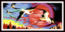Red-crowned cranes in the rising sun cross stitch kits white 11ct  printed embroidery DIY handmade needle work wall home decor