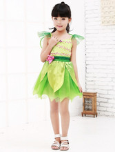 Vocole Halloween Girl's Green Fairy Tale Tinkerbell Costume Children Cosplay Party Fancy Dress With Wings