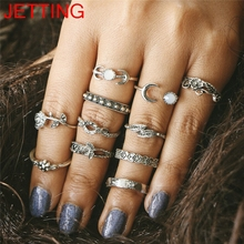 JETTING Vintage Rose Flower Joint Rings Carved Totem 11 PCS Set of Rings Bohemian Beach Small Ring Set