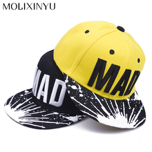 MOLIXINYU New Children Snapback Caps Letter Pattern Baby Baseball Cap Kids Flat Hip Hop Cap Boys And Girls Sun Hat Baby Hats